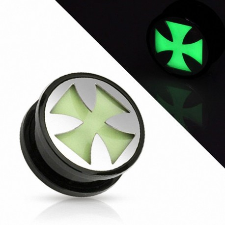Piercing plug croix de fer Glow in the dark