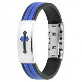 Bracelet caoutchouc et acier inoxydable - Croix médiévale