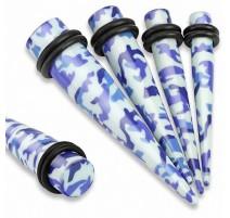 Piercing écarteur acrylique camouflage bleu