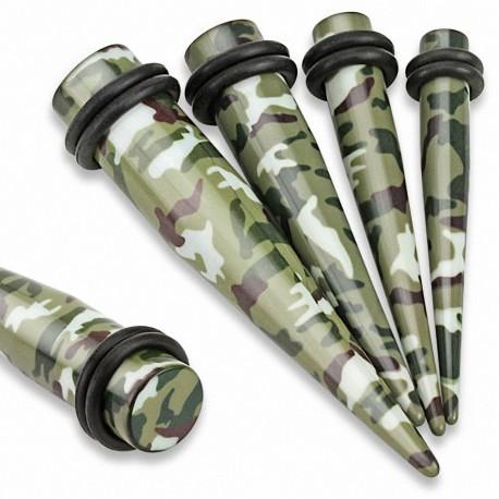 Piercing écarteur acrylique camouflage vert