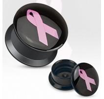 Piercing plug acrylique ruban rose