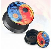 Piercing plug acrylique Yin Yang