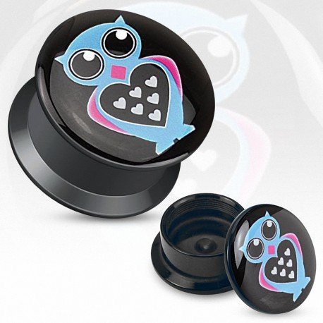 Piercing plug acrylique chouette