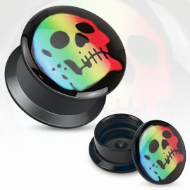 Piercing plug acrylique crâne multicolore