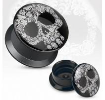 Piercing plug acrylique crâne floral