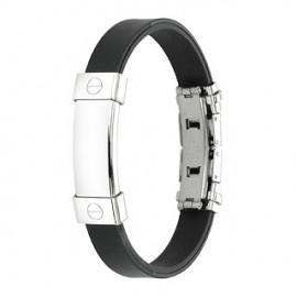 Bracelet caoutchouc et acier inoxydable - Plaque sans motif