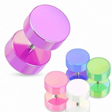 Piercing faux plug couleur perlée