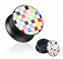 Piercing plug acrylique damier multicolore