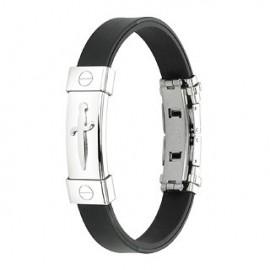 Bracelet caoutchouc et acier inoxydable - Dague de pirate