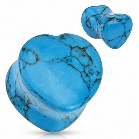 Piercing plug pierre turquoise coeur