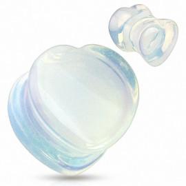 Piercing plug pierre opale coeur