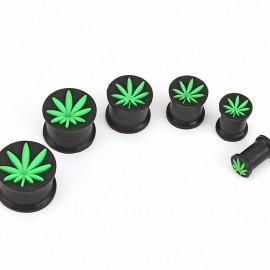 Piercing plug silicone noir cannabis