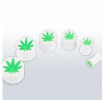 Piercing plug silicone blanc cannabis