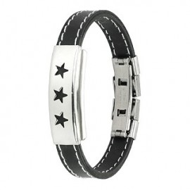 Bracelet caoutchouc et acier inoxydable - Etoiles