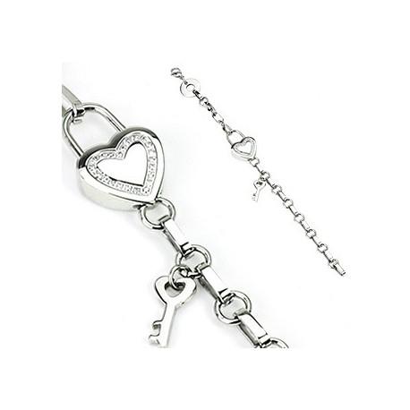 Bracelet en acier inoxydable Cadenas Cœur + Clef