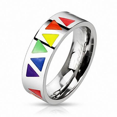 Bague Femme en acier Gay Pride Triangles Rainbow