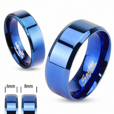 Bague en acier inoxydable Bleu IP - Bague homme et femme