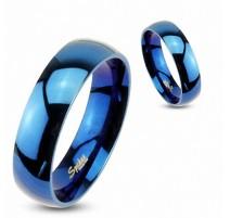Bague acier inoxydable Bleue IP Brillante - Bague homme et femme