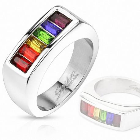 Bague acier gemmes rainbow rectangulaire