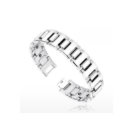Bracelet Bio-Magnetic Tungstène Large Facettes