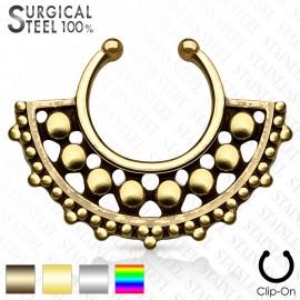 Faux piercing septum large éventail perles