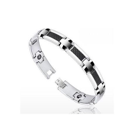 Bracelet Bio-Magnetic Tungstène avec Fibre de Carbone