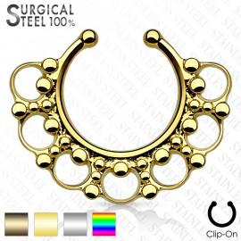 Faux piercing septum cercles perles