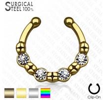 Faux piercing septum quatre strass