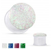 Piercing tunnel acrylique transparent paillettes
