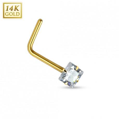 Piercing nez Or jaune 14 carats carré tige en L