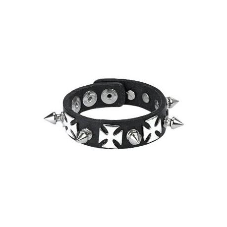 Bracelet en Cuir noir avec Spikes et Croix