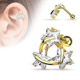 Piercing cartilage trois étoiles plaqué or