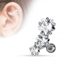 Piercing cartilage triple étoiles blanc