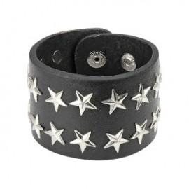 Bracelet en Cuir noir avec Etoiles