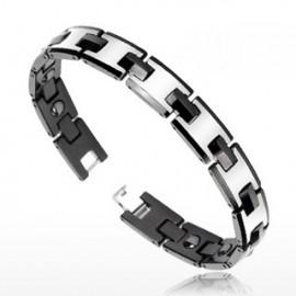 Bracelet Bio-Magnetic Tungstène Duo Noir Argenté