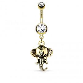 Piercing nombril plaqué or pendentif éléphant