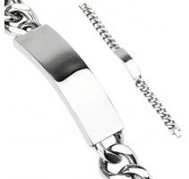 Bracelet gourmette acier inoxydable avec plaque