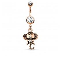 Piercing nombril pendentif éléphant or rose
