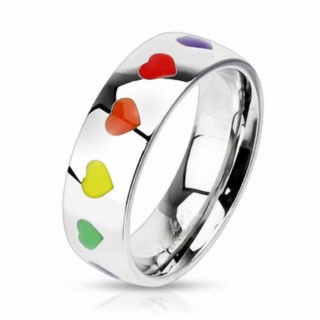 Bague acier coeur rainbow