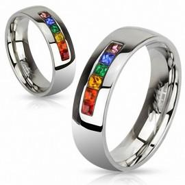 Bague Gay Pride Gemmes Rainbow