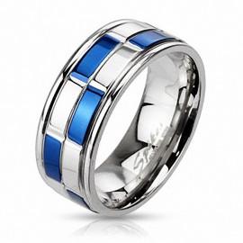 Bague en acier inoxydable Damier Bleu et Argenté