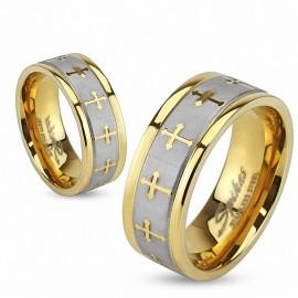 Bague acier doré croix celtique