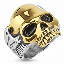 Bague homme biker crâne doré