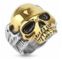 Bague homme acier crâne doré