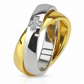 Bague acier double anneau doré