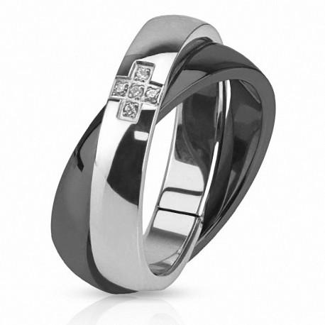 Bague acier double anneau noir