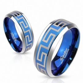 Bague acier bleu labyrinthe