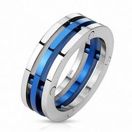Bague home acier trois anneaux bleu