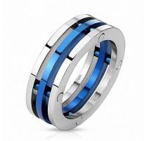Bague acier inoxydable trois anneaux bleu