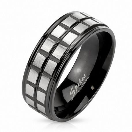 Bague homme acier noir carrés argentés